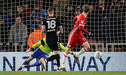 Middlesbrough's Patrick Bamford (centre) scores the first goal of the game against Leeds United during the Sky Bet Championship match at the Riverside Stadium, Middlesbrough.