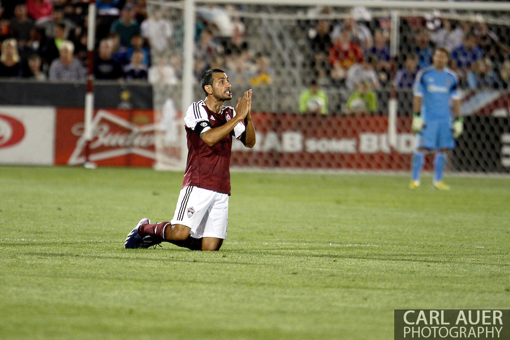 May 25th, 2013 Commerce City, CO - Colorado Rapids midfielder Nick LaBrocca (2) pleads with the referee for a foul call against Chivas USA in the second half of the MLS match between Chivas USA and the Colorado Rapids at Dick's Sporting Goods Park in Commerce City, CO