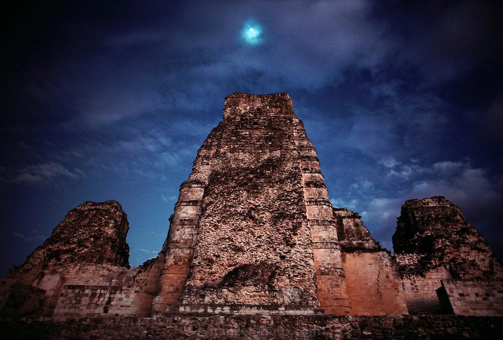 The Mayan ruins at Xpujil, Yucatan, Mexico.