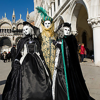 People wearing carnival costume/s pose/s in St Mark Square on March 05, 2011 in Venice, Italy. The Venice Carnival is one of the largest and most important in Italy and runs this year until March 8. ..HOW TO BUY THIS PICTURE: please contact us via e-mail at sales@xianpix.com or call our offices in Milan at (+39) 02 400 47313 or London   +44 (0)207 1939846 for prices and terms of copyright..