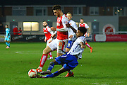 Fleetwood Town Midfielder Wes Burns challenged during the Sky Bet League 1 match between Fleetwood Town and Walsall at the Highbury Stadium, Fleetwood, England on 15 March 2016. Photo by Pete Burns.