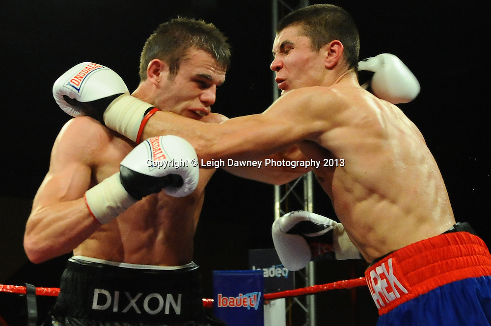 Robert  Dixon (black shots) defeats Marek Laskowski at Rainton Meadows Arena, Houghton Le Spring, Tyne & Wear, UK. 15th February 2013. Frank Maloney Promotions. © Leigh Dawney 2013
