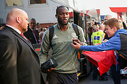Manchester United Forward Romelu Lukaku arrives off club coach before the Premier League match between Bournemouth and Manchester United at the Vitality Stadium, Bournemouth, England on 18 April 2018. Picture by Phil Duncan.