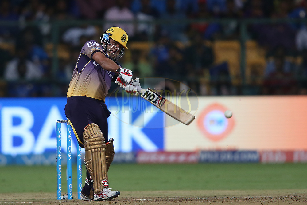 Piyush Chawla of the Kolkata Knight Riders drives a delivery on the up and is caught by Ambati Rayudu of the Mumbai Indians during the 2nd qualifier match of the Vivo 2017 Indian Premier League between the Mumbai Indians and the Kolkata Knight Riders held at the M.Chinnaswamy Stadium in Bangalore, India on the 19th May 2017<br /> <br /> Photo by Shaun Roy - Sportzpics - IPL