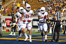 BERKELEY, CA - OCTOBER 03:  Wide receiver River Cracraft #21 of the Washington State Cougars celebrates after scoring a touchdown against the California Golden Bears during the first quarter at California Memorial Stadium on October 3, 2015 in Berkeley, California. (Photo by Jason O. Watson/Getty Images) *** Local Caption *** River Cracraft