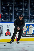 KELOWNA, CANADA - OCTOBER 20: Portland Winterhawks' assistant coach, Danny Flynn, skates with the puck during morning practice at the Kelowna Rockets on October 20, 2017 at Prospera Place in Kelowna, British Columbia, Canada.  (Photo by Marissa Baecker/Shoot the Breeze)  *** Local Caption ***