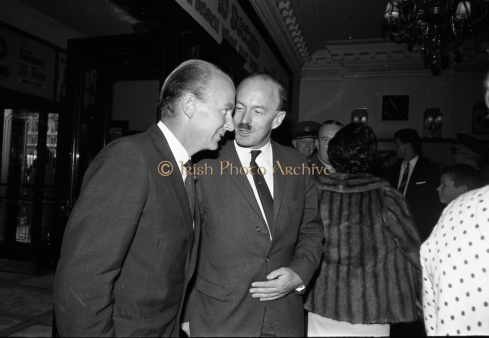 "24/07/1967<br /> 07/24/1967<br /> 24 July 1967<br /> First showing of ""Fleá Cheoil"" at the Metropole Cinema, Dublin. A presentation was made to the director of the film Mr. Louis Marcus, for winning the Silver Bear Award at the Berlin International Film Festival, by Taoiseach Jack Lynch TD, on behalf of the Cork Film Society, where Mr. Marcus began his carrier. President of the Society Mr. Sean Hendrick attended the presentation. Image shows Minister for Labour Dr. Patrick Hillery being greeted on his arrival by Donal O Moráin, Ceannasai Gael-Linn."
