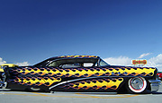 Black Customised Vintage Hotrod car with Yellow flame design, Viva Las Vegas Festival, Las Vegas, USA 2006.