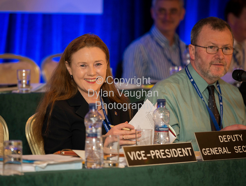 Repro Free no Charge for Repro<br /> 23/4/14<br /> Annette Dolan, Deputy General Secretary and John MacGabhann General Secretary TUI pictured at the TUI Conference at the Newpark Hotel in Kilkenny.<br /> Picture Dylan Vaughan.