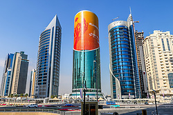 15-01-2015 QAT: IHF Handball World Championship, Doha<br /> Bild eine Skyline mit Handball WM Plakate // during the IHF Handball World Championship, Doha, Qatar <br /> ***NETHERLANDS ONLY***