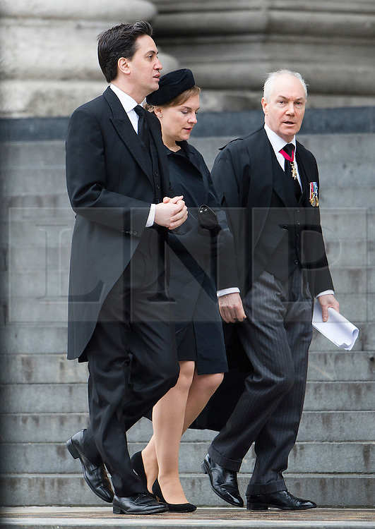 © London News Pictures.17/04/2013. London, UK.  Ed Miliband (left) arriving at St Paul's Cathedral in London for The Funeral of former British Prime Minister, Margaret Thatcher on April 17, 2013. Photo credit : Ben Cawthra/LNP