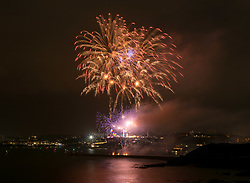 © Licensed to London News Pictures. 14/08/2019; Plymouth, Devon, UK. Day one of the British Fireworks Championships, with the first display by Nemesis. The third display was cancelled due to technical difficulties. Meanwhile two people are under police investigation after drones were flown on Wednesday night. Police have said two separate members of the public were identified and stopped while flying drones over The Hoe during the event, which is a criminal offence. The British Fireworks Championships is one of the biggest firework displays in the country, held in Plymouth Sound each August when firework companies from across the UK compete for the best display. The British Fireworks Championships began in 1997 and Plymouth Sound harbour was chosen for the location as it provides a natural amphitheatre for large scale pyrotechnics that can be used safely away from the public but watched from many viewpoints around the Sound'. Photo credit: Simon Chapman/LNP.