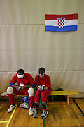 Zwei serbische Spieler warten beim internationalen Goalball Turnier in Zagreb auf ihren Einsatz. Goalball ist eine Mannschaftssportart f&uuml;r blinde und sehbehinderte Menschen und wurde vom &Ouml;sterreicher Hans Lorenzen und dem deutschen Sepp Reindle f&uuml;r Kriegsinvalide entwickelt und zum ersten Mal 1946 gespielt. Die Bilder entstanden auf zwei internationalen Goalball Turnieren in Budapest und Zagreb 2007.<br /> <br /> Two serbian players are waiting for their run-out during the international Goalball tournament in Zagreb. Goalball is a team sport designed for blind and visually impaired athletes. It was devised by an Austrian, Hanz Lorenzen, and a German, Sepp Reindle, in 1946 in an effort to help in the rehabilitation of visually impaired World War II veterans. The International Blind Sports Federatgion (IBSA - www.ibsa.es), responsible for fifteen sports for the blind and partially sighted in total, is the governing body for this sport. The images were made during two Goalball tournaments in Budapest and Zahreb 2007.