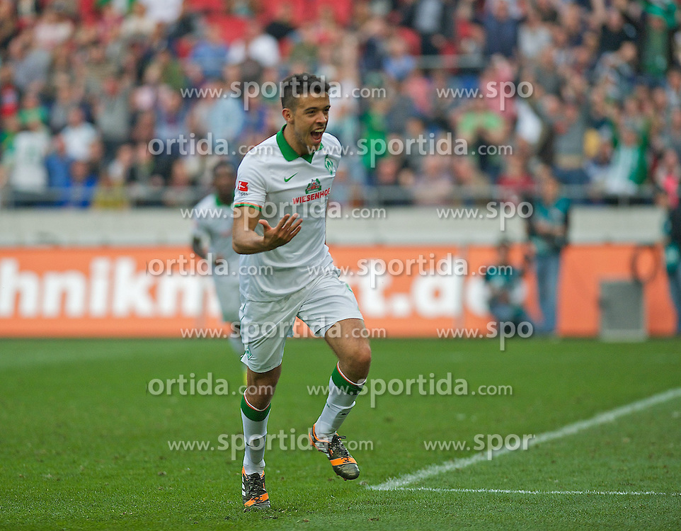 30.03.2014, AWD Arena, Hannover, GER, 1. FBL, Hannover 96 vs SV Werder Bremen, 28. Runde, im Bild Franco Mat�as Di Santo / Franco Matias Di Santo (SV Werder Bremen #9) beim Jubel nach Schuss zum Ausgleichstreffer // Franco Mat�as Di Santo / Franco Matias Di Santo (SV Werder Bremen #9) beim Jubel nach Schuss zum Ausgleichstreffer during the German Bundesliga 28th round match between Hannover 96 and SV Werder Bremen at the AWD Arena in Hannover, Germany on 2014/03/30. EXPA Pictures &copy; 2014, PhotoCredit: EXPA/ Andreas Gumz<br /> <br /> *****ATTENTION - OUT of GER*****