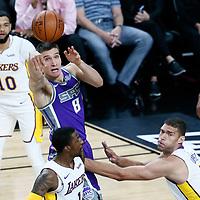 08 October 2017: Sacramento Kings guard Bogdan Bogdanovic (8) passes the ball during the LA Lakers 75-69 victory over the Sacramento Kings, at the T-Mobile Arena, Las Vegas, Nevada, USA.