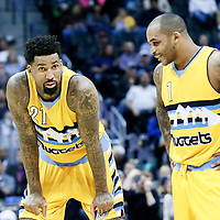 18 November 2016: Denver Nuggets forward Wilson Chandler (21) talks to Denver Nuggets guard Jameer Nelson (1) during the Toronto Raptors 113-111 OT victory over the Denver Nuggets, at the Pepsi Center, Denver, Colorado, USA.
