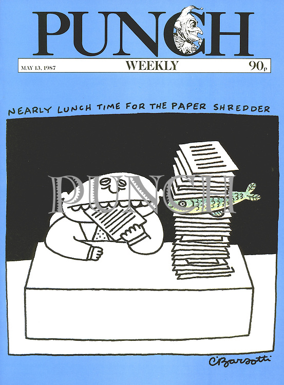 Punch. Nearly lunch time for the paper shredder (Front cover, 13 May 1987)