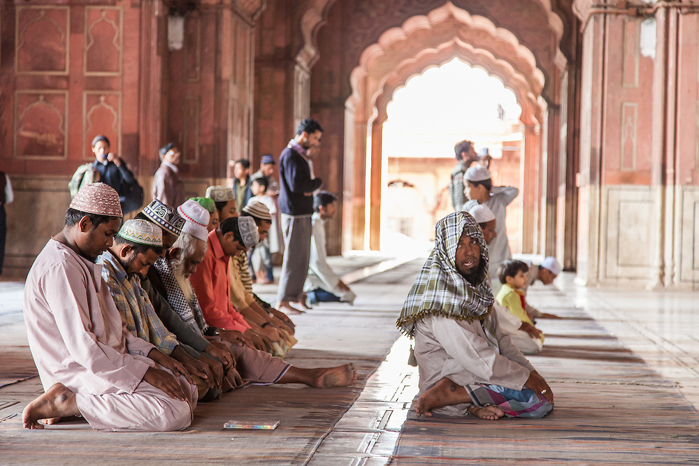 Muslim men pray at the Jama Masjid (Pearl Mosque) in Old Delhi, India.