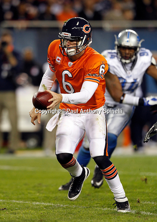 Chicago Bears quarterback Jay Cutler (6) hands off the ball on a running play during the NFL week 10 football game against the Detroit Lions on Sunday, November 13, 2011 in Chicago, Illinois. The Bears won the game 37-13. ©Paul Anthony Spinelli