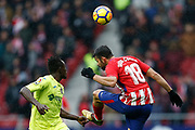 Atletico Madrid's Spanish forward Diego Costa heads the ball during the Spanish Championship Liga football match between Atletico Madrid and Getafe on January 6, 2018 at the Wanda Metropolitano stadium in Madrid, Spain - Photo Benjamin Cremel / ProSportsImages / DPPI