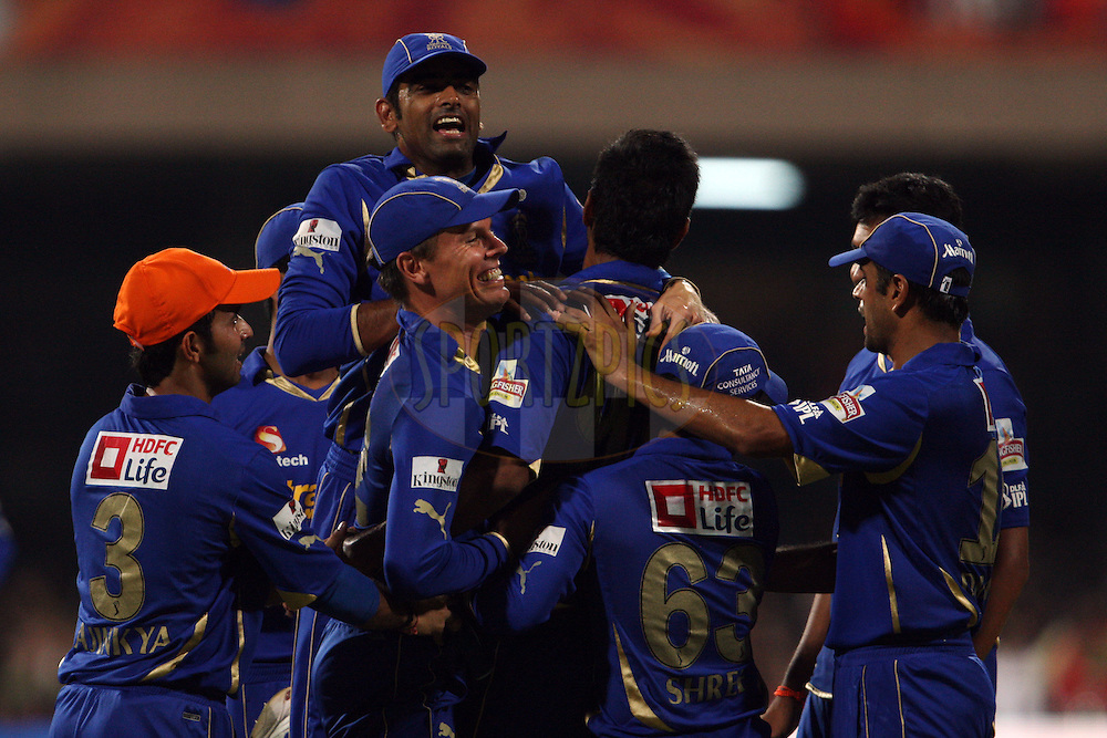 Rajasthan Royals celebrate the wicket of Chris Gayle during match 18 of the the Indian Premier League ( IPL) 2012  between The Royal Challengers Bangalore and the Rajasthan Royals held at the M. Chinnaswamy Stadium, Bengaluru on the 15th April 2012..Photo by Jacques Rossouw/IPL/SPORTZPICS