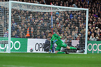 Football - 2019 / 2020 Premier League - Crystal Palace vs. Manchester City<br /> <br /> Wayne Hennessey of Palace can only watch as the ball comes off the post from Jesus for City's first goal, at Selhurst Park.<br /> <br /> COLORSPORT/ANDREW COWIE