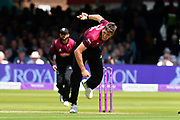 Jamie Overton of Somerset bowling during the Royal London 1 Day Cup Final match between Somerset County Cricket Club and Hampshire County Cricket Club at Lord's Cricket Ground, St John's Wood, United Kingdom on 25 May 2019.