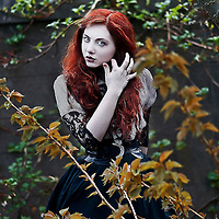 A girl with red hair wearing Victorian garments surrounded by branches
