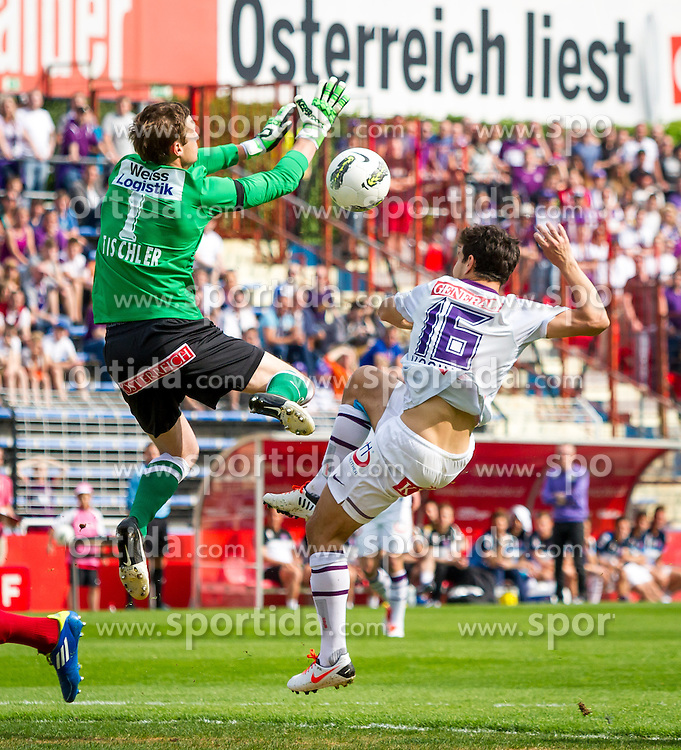 28.04.2013, Trenkwalder Arena, Maria Enzersdorf, AUT, 1. FBL, FC Admira Wacker Moedling vs FK Austria Wien, 31. Runde, im Bild Patrick Tischler (FC Admira Wacker Moedling, #1), Philipp Hosiner (FK Austria Wien, #16)// during Austrian Bundesliga Football Match, 31 st round, between FC Admira Wacker Moedling and FK Austria Wien at the Trenkwalder Arena, Maria Enzersdorf, Austria on 2013/04/28. EXPA Pictures © 2013, PhotoCredit: EXPA/ Sebastian Pucher