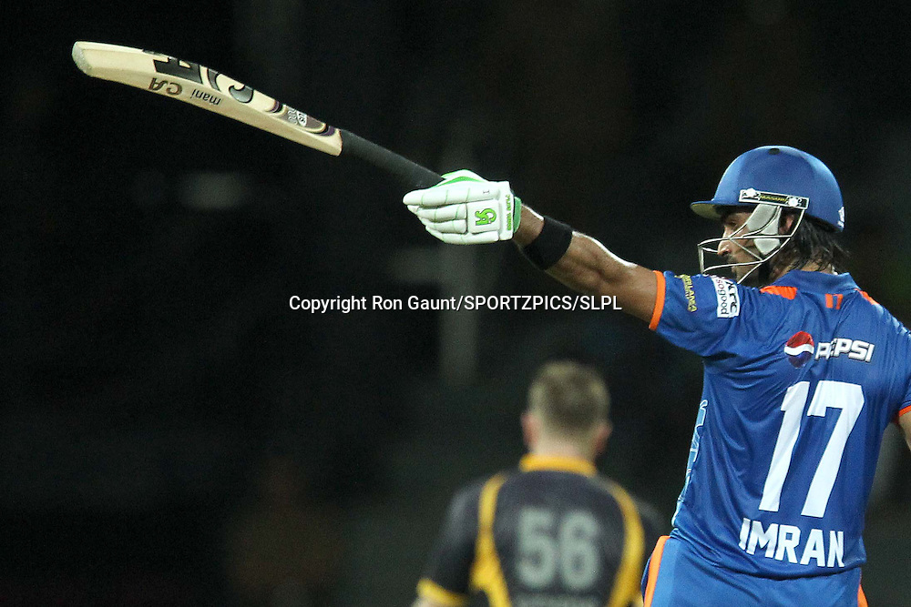 Imran Nazir celebrates his half century during match 5 of the Sri Lankan Premier League between Kandurata Warriors and Nagenahira Nagas held at the Premadasa Stadium in Colombo, Sri Lanka on the 13th August 2012<br />  <br /> Photo by Ron Gaunt/SPORTZPICS/SLPL