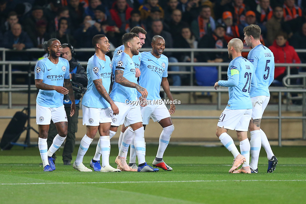 KHARKOV, UKRAINE - OCTOBER 23: Manchester City players celebrate a goal during the Group F match of the UEFA Champions League between FC Shakhtar Donetsk and Manchester City at Metalist Stadium on October 23, 2018 in Kharkov, Ukraine. (Photo by MB Media/Getty Images)