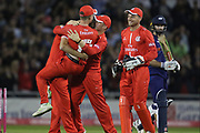 Lancashires Alex Davies hugs Lancashires Toby Lester during the Vitality T20 Blast North Group match between Lancashire County Cricket Club and Yorkshire County Cricket Club at the Emirates, Old Trafford, Manchester, United Kingdom on 20 July 2018. Picture by George Franks.
