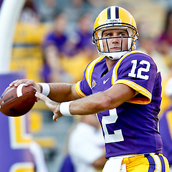 September 10, 2011; Baton Rouge, LA, USA;  LSU Tigers quarterback Jarrett Lee (12) prior to kickoff of a game against the Northwestern State Demons at Tiger Stadium.  Mandatory Credit: Derick E. Hingle