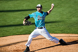 Coastal Carolina pitcher Cody Wheeler (5) in action against UVA.  The #24 ranked Virginia Cavaliers baseball team faced the Coastal Carolina Chanticleers at the University of Virginia's Davenport Field in Charlottesville, VA on April 15, 2008.
