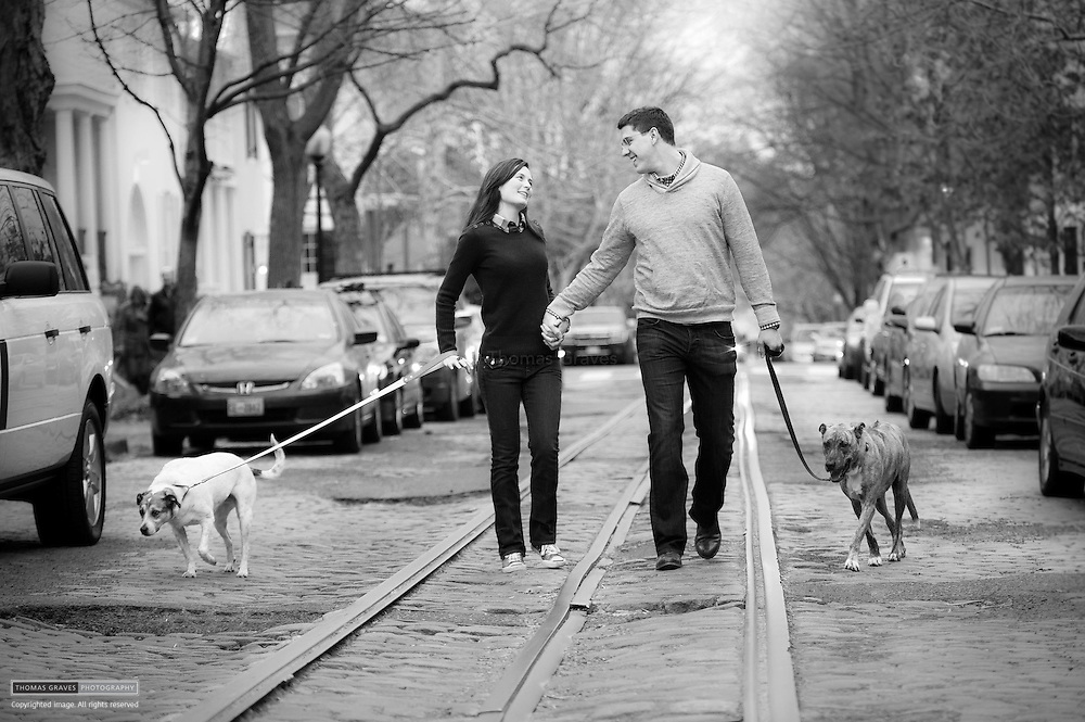 Jimmy Smittkamp & Crystal Roberts are shown here in Georgetown, and on the roof of their Rosslyn, VA home.