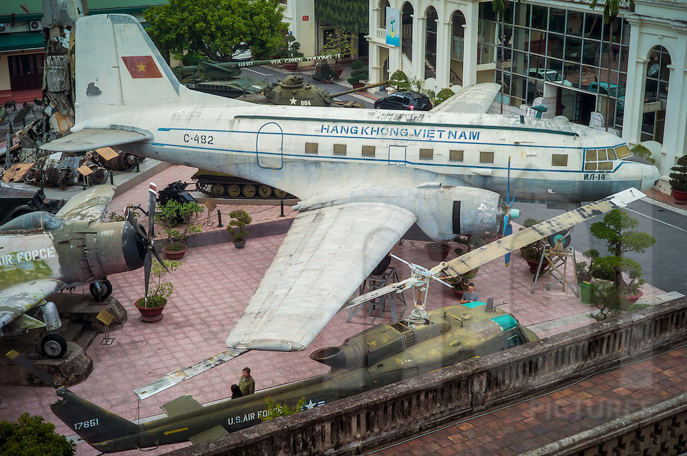 Weathered aircraft displayed at Vietnam Military History Museum, Hanoi, Vietnam, Southeast Asia