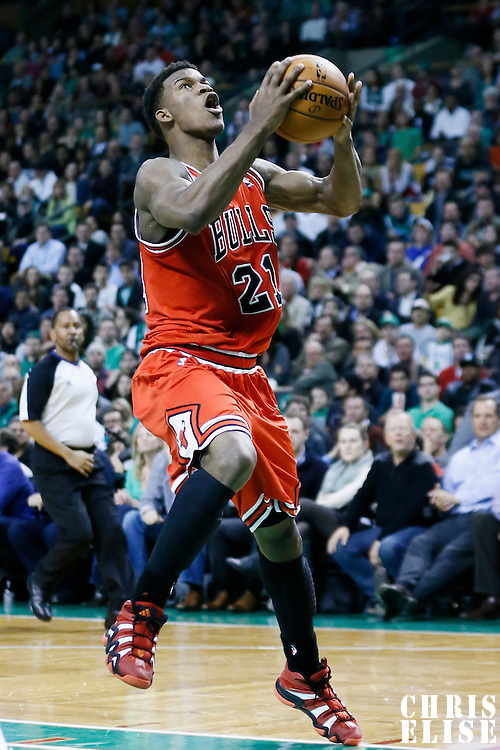 13 February 2013: Chicago Bulls small forward Jimmy Butler (21) goes for the layup during the Boston Celtics 71-69 victory over the Chicago Bulls at the TD Garden, Boston, Massachusetts, USA.
