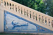 Traditional Portuguese blue tiles art at Aveiro city park, Aveiro, Portugal
