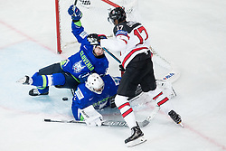 Mitja Robar of Slovenia, Gasper Kroselj of Slovenia and Wayne Simmonds of Canada during the 2017 IIHF Men's World Championship group B Ice hockey match between National Teams of Slovenia and Canada, on May 7, 2017 in Accorhotels Arena in Paris, France. Photo by Vid Ponikvar / Sportida