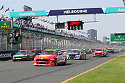 Scott McLaughlin (DJR Penske Shell Ford) leads the start of the race. Beaurepaires Supercars Melbourne 400, Virgin Australia Supercars Champiobship Round 2. 2019 Rolex Australian F1 Grand Prix, Albert Park Melbourne 14-16 March 2019. Photo Clay Cross / photosport.nz