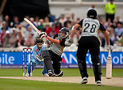 Raisin' her game...Aimee Watkins sweeps Gouher Sultana for six during the ICC Women's World Twenty20 Cup semi-final between New Zealand and India at Trent Bridge. Photo © Graham Morris (Tel: +44(0)20 8969 4192 Email: sales@cricketpix.com)