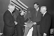 12/02/1963<br /> 02/12/1963<br /> 12 February 1963<br /> Launch reception for Irish Wool Weavers Co-operative Ltd. at the Shelbourne Hotel, Dublin. (l-r): Mr. W.J. Malone, Secretary, Woolen and Worsted Manufacturers Association; Miss Stella Nyham, Secretary Mantle and Gown Group, Federation of Irish Industries; Mr. J. Hanly, Managing Director of John Hanly and Co. (Nenagh) and Mr. Seamus Sherry, Manager, Providence Woolen Mills, Foxford.