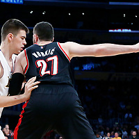 26 March 2016: Portland Trail Blazers center Jusuf Nurkic (27) posts up Los Angeles Lakers center Ivica Zubac (40) during the Portland Trail Blazers 97-81 victory over the Los Angeles Lakers, at the Staples Center, Los Angeles, California, USA.