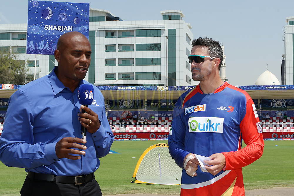 Kevin Pietersen captain of of the Delhi Daredevils interviewed before the toss during match 16 of the Pepsi Indian Premier League 2014 between the Delhi Daredevils and the Mumbai Indians held at the Sharjah Cricket Stadium, Sharjah, United Arab Emirates on the 27th April 2014<br /> <br /> Photo by Ron Gaunt / IPL / SPORTZPICS