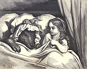 "Oh, Granny, your teeth are tremendous in size!"" ""They're to eat you!"" – and he ate her!' from 'Little Red Riding Hood' by Paul Gustave Dore (1832-1883) from the book Fairy realm. A collection of the favourite old tales. Illustrated by the pencil of Gustave Dore by Tom Hood, (1835-1874); Gustave Doré, (1832-1883) Published in London by Ward, Lock and Tyler in 1866"