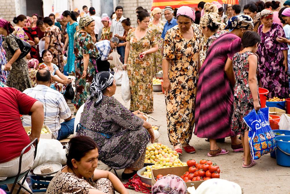 Bustling trade outside of Khiva market