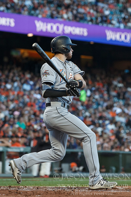 SAN FRANCISCO, CA - JULY 07: JT Riddle #39 of the Miami Marlins hits a two run single against the San Francisco Giants during the first inning at AT&T Park on July 7, 2017 in San Francisco, California.  (Photo by Jason O. Watson/Getty Images) *** Local Caption *** JT Riddle