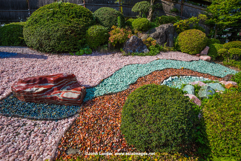 Yamanashi Prefecture is famous for its rock crystals and many world-class lapidary experts.  It should not be surprising, therefore, that a rock garden, for which the Japanese are famous, should be born.  The main difference here is that the stones are not austere white pebbles, but multicolored ones from local crystals.  The Jewel Dream Garden is large, and run by a local jewelry company that sponsors it and the adjacent Jewelry Museum.