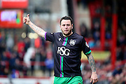 Bristol City striker, Lee Tomlin (9) thumbs up during the Sky Bet Championship match between Brentford and Bristol City at Griffin Park, London, England on 16 April 2016. Photo by Matthew Redman.