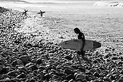 Surfers at Trestles in Black and White